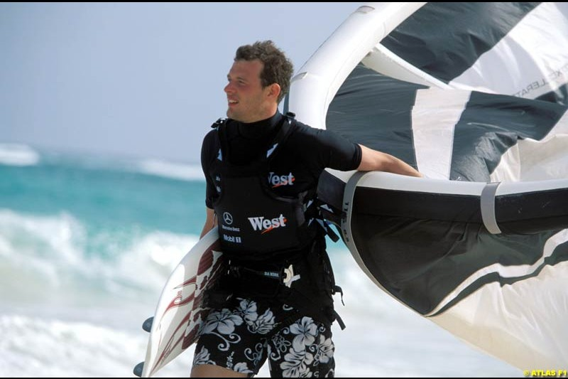 McLaren test driver Alex Wurz relaxes in Barbados. April 2002.