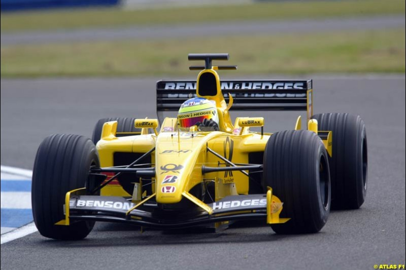 Giancarlo Fisichella, Jordan, 2002 Formula One Testing, Silverstone, England. 29th May 2002.