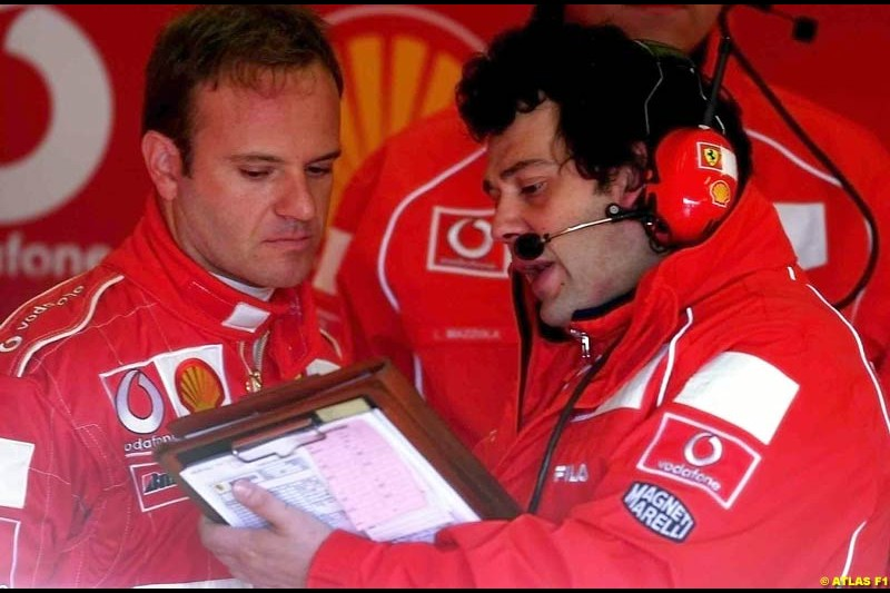 Rubens Barrichello, Ferrari, 2002 Formula One Testing, Silverstone, England. 29th May 2002.