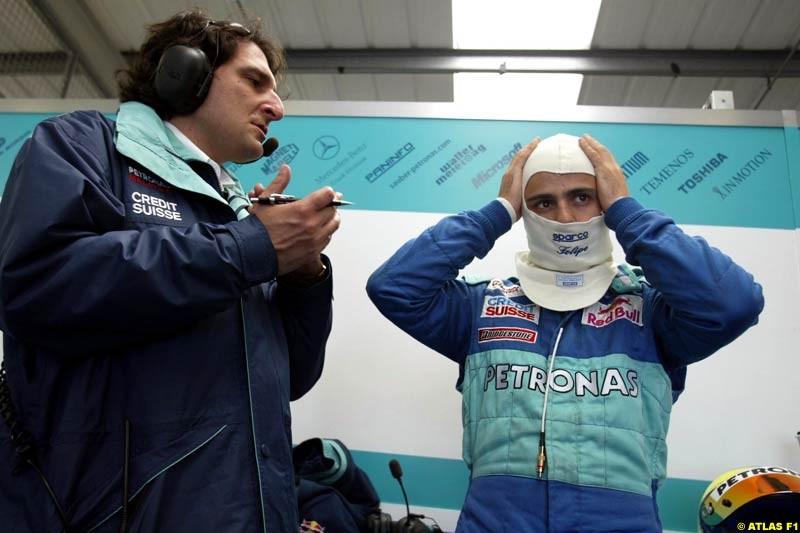 Felipe Massa, Sauber, 2002 Formula One Testing, Silverstone, England. 29th May 2002.