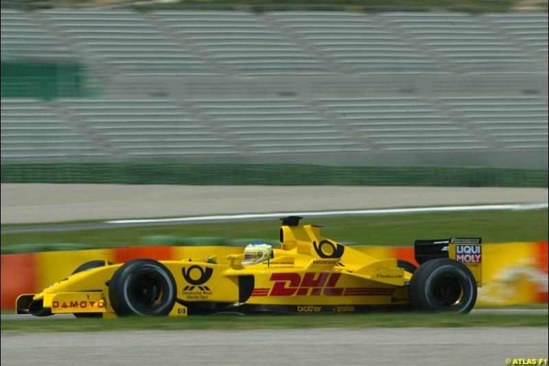 Giancarlo Fisichella, Jordan 2002 Formula One Testing, Valencia, Spain. 15th May 2002.