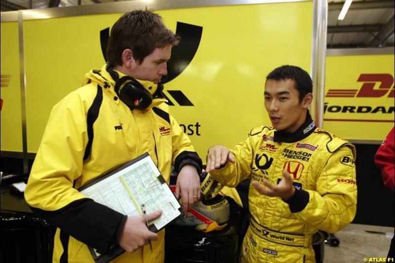 Takuma Sato, Jordan, 2002 Formula One Testing, Silverstone, England. 1st May 2002.