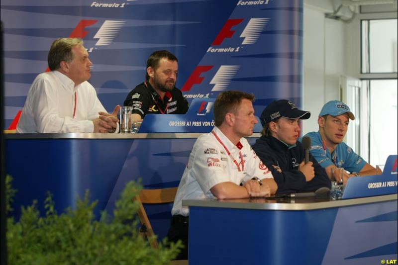 2002 Austrian Grand Prix, A1 Ring, Austria. 9th May 2002. Thursday press conference, with Patrick Head, Paul Stoddart, Allan McNish, Nick Heidfeld and Jenson Button.