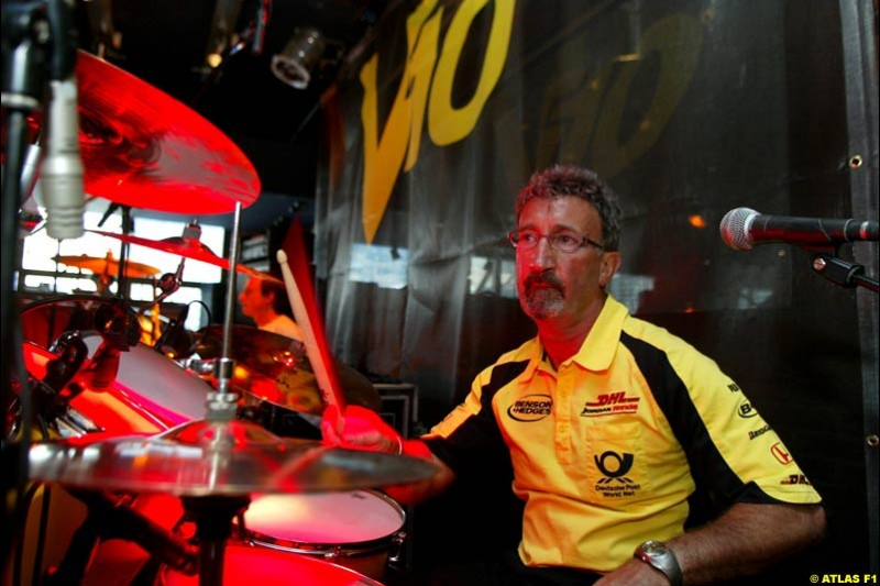 2002 Monaco Grand Prix - Friday. Eddie Jordan plays the drums at a Jordan Grand Prix party. Monte Carlo, Monaco. May 24th 2002