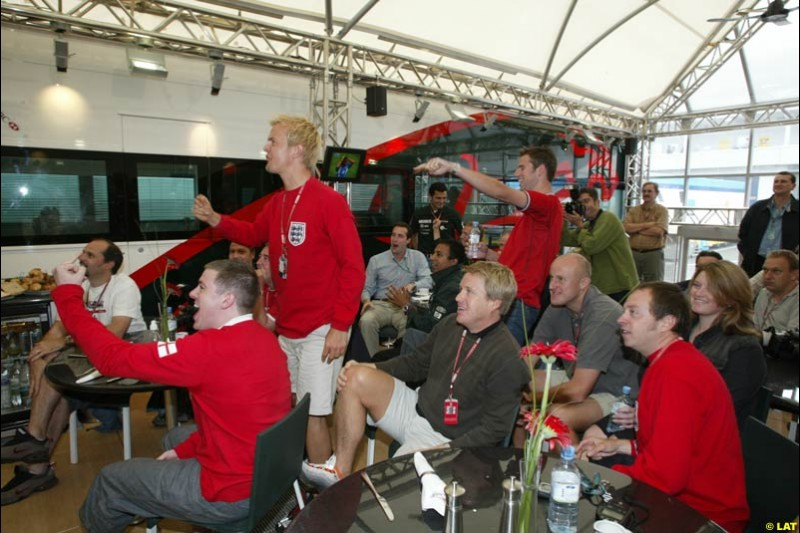 2002 European Grand Prix - the Nurburgring, Germany. June 21st 2002. The paddock watches the quarter finals of the World Cup
