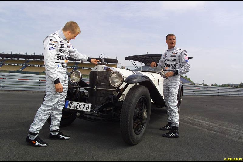 On 19 June 1927, 75 years ago, Rudolf Caracciola won the inaugurating race at the Nurburgring with a Mercedes S. On the occasion of that anniversary, West McLaren Mercedes drivers David Coulthard and Kimi Raikkonen drove Caracciola's car around the Grand Prix track. Earlier that day, David and Kimi unveiled a Juan Manuel Fangio statue in front of the Nurburgring Erlebniswelt.