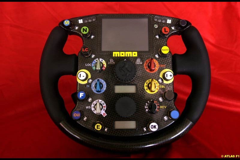 The new Ferrari steering wheel, which debuted on the F2002 in the Nurburgring for the European GP