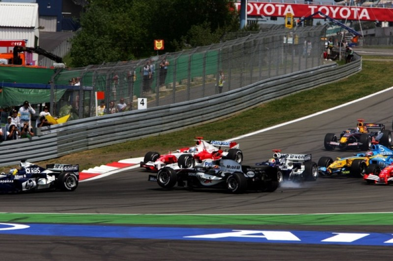 Here's Mark Webber introducing himself to Juan Pablo Montoya in 2005. And they're certainly not the only ones to come a cropper at the tricky downhill braking zone on a first lap when the pack is jostling for position.
