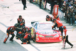 Jeff Gordon was able to hold the lead with a series of quick fuel stops and tire changes