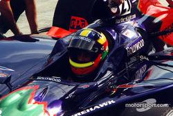 Felipe Giaffone waits for crew to make changes