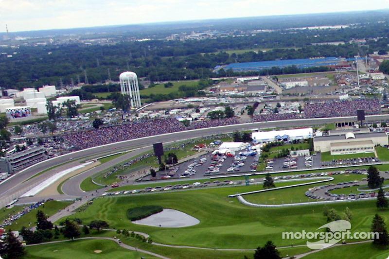 Aerial view of Indianapolis Motor Speeway: turn 2