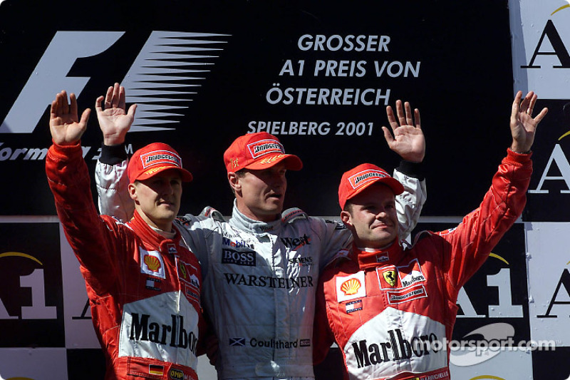 2001: 1. David Coulthard, 2. Michael Schumacher, 3. Rubens Barrichello
