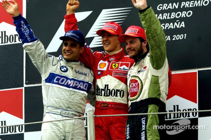 El podio: Juan Pablo Montoya, Michael Schumacher y Jacques Villeneuve