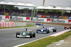 First lap: Eddie Irvine in front of the pack