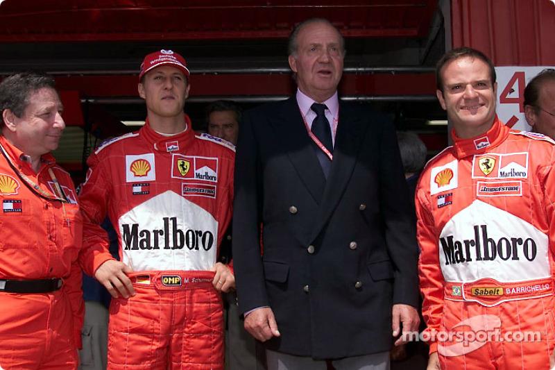 Jean Todt, Michael Schumacher, el Rey Juan Carlos y Rubens Barrichello
