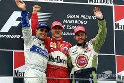 Podium: Juan Pablo Montoya, Michael Schumacher en Jacques Villeneuve