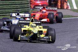 Jarno Trulli, Mika Hakkinen and Michael Schumacher