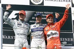 The podium: David Coulthard, Ralf Schumacher and Rubens Barrichello