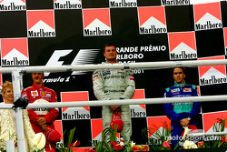 The podium: Michael Schumacher, David Coulthard and Nick Heidfeld