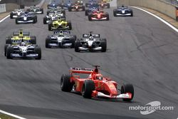 The start: Michael Schumacher leading the way