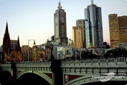 Puesta de sol en la ciudad de Melbourne