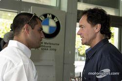 Juan Pablo Montoya y el ex Campeón Mundial de motociclismo de 500 cc, Barry Sheene