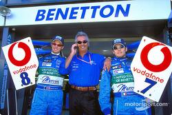 Jenson Button, Flavio Briatore and Giancarlo Fisichella