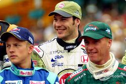 Drivers presentation: Kimi Raikkonen, Jacques Villeneuve, and Eddie Irvine