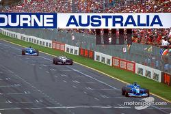 Fisichella, Montoya and Button