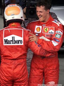 Rubens Barrichello and Michael Schumacher after the race