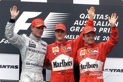 David Coulthard, Michael Schumacher et Rubens Barrichello