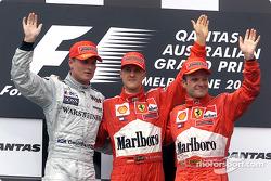 David Coulthard, Michael Schumacher and Rubens Barrichello