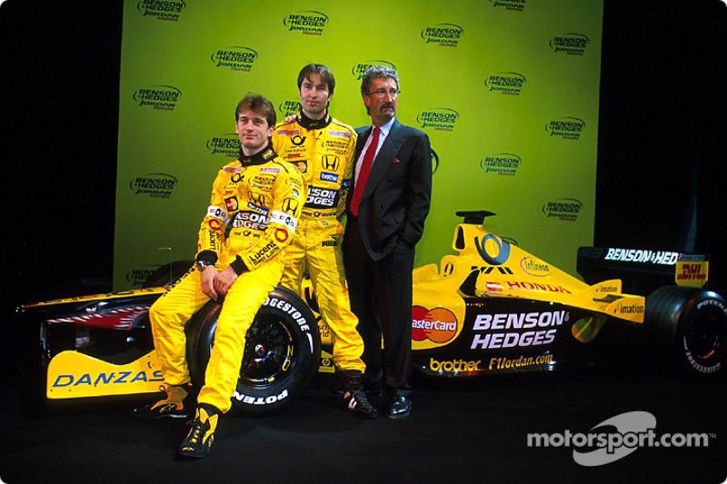 Jarno Trulli, Heinz-Harald Frentzen y Eddie Jordan