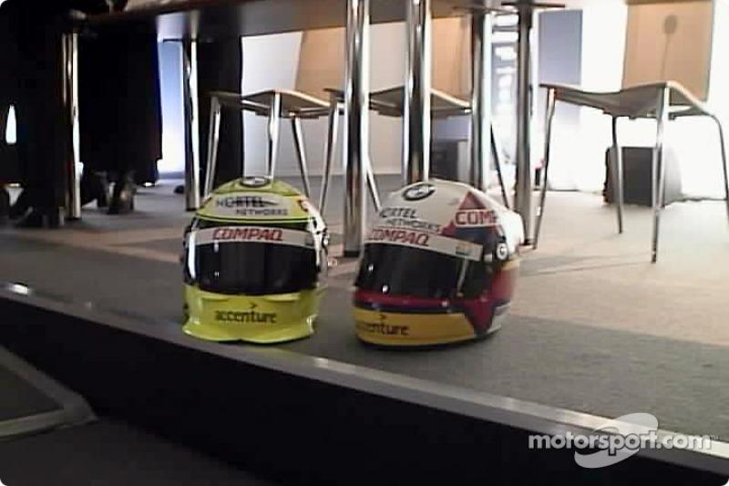 Los cascos def Ralf Schumacher y Juan Pablo Montoya