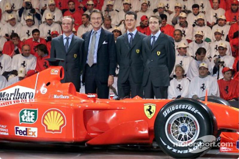 Rubens Barrichello, Luca di Montezemolo, Michael Schumacher ve Luca Badoer