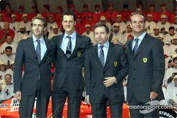 Luca Badoer, Michael Schumacher, Jean Todt ve Rubens Barrichello