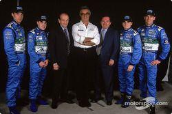 Jenson Button, Fernando Alonso, Christian Contzen, Flavio Briatore, Patrick Faure, Giancarlo Fisichella et Mark Webber