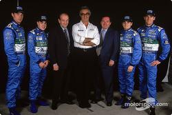 Jenson Button, Fernando Alonso, Christian Contzen, Flavio Briatore, Patrick Faure, Giancarlo Fisiche