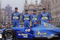 Mark Webber, Giancarlo Fisichella, Fernando Alonso, Jenson Button und der Benetton B201