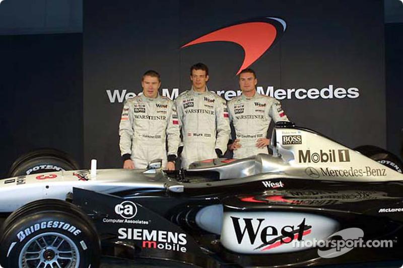 Mika Hakkinen, Alexander Wurz and David Coulthard