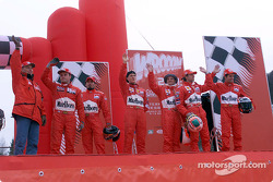 The drivers at the karting exhibition: Michael Schumacher, Luca Badoer, Rubens Barrichello, Max Biaggi, Carlos Checa, Tommi Makinen and his co-driver Risto Mannisenhaki