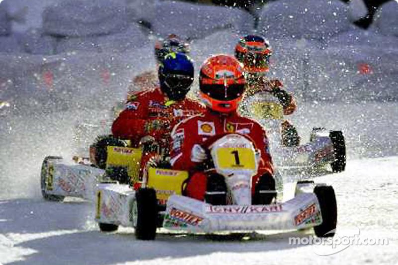 ice kart race: Michael ve Finnish rally pilotu Tommi Makkinen ve Rubens Barrichello