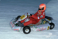 Michael Schumacher driving in the karting exhibition