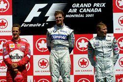 The podium: Michael Schumacher, Ralf Schumacher and Mika Hakkinen
