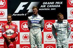 Podium: Michael Schumacher, Ralf Schumacher und Mika Häkkinen