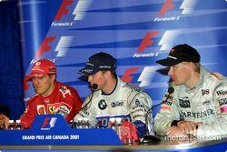 basın toplantısı: Michael Schumacher, Ralf Schumacher ve Mika Hakkinen