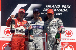 The podium: Michael Schumacher, Ralf Schumacher and Mika Hakkinen