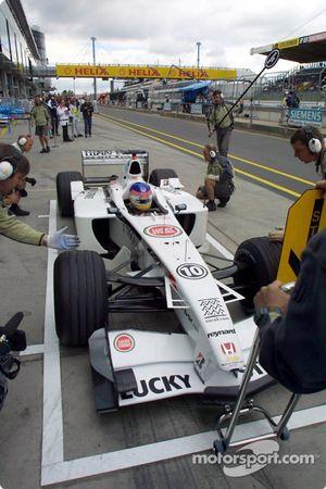 Simulation d'arrêt au stand pour Jacques Villeneuve