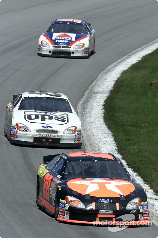 Race winner Ricky Rudd leads team mate Dale Jarrett and Jeff Burton at Pocono