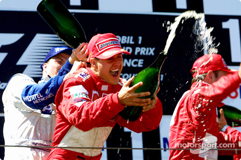 Ralf Schumacher, Michael Schumacher and Rubens Barrichello on the podium